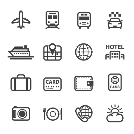 Travel and Vacation Icons with White Background Stock Illustratie