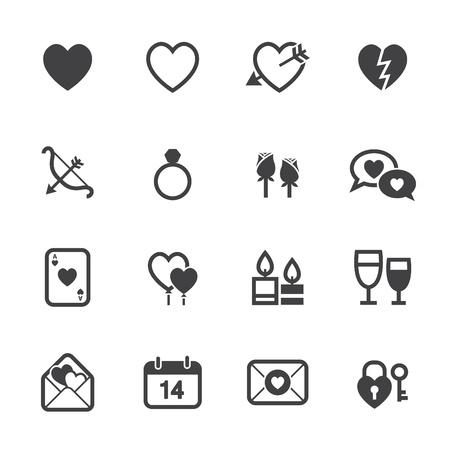 Valentijnsdag Pictogrammen en Liefde Pictogrammen met witte achtergrond Stock Illustratie