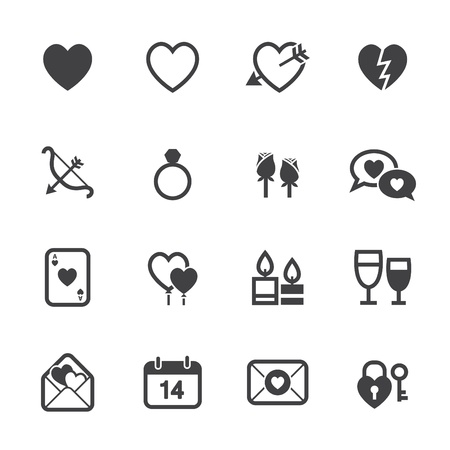 Valentines Day Icons and Love Icons with White Background