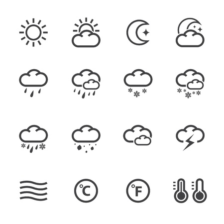 Weather Icons with White Background Illustration