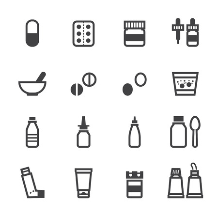 Pharmacy Icons and Medical Icons with White Background