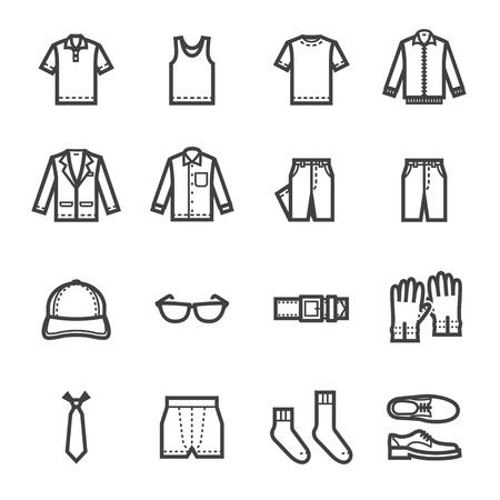 shirts on hangers: Men Clothing Icons with White Background Illustration