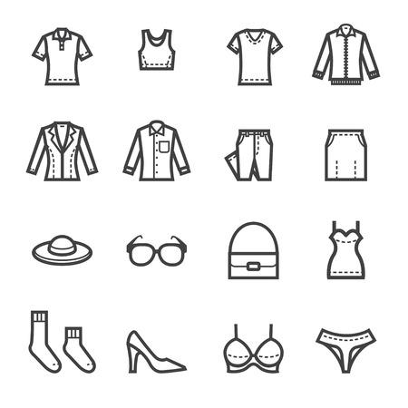 Frauen Bekleidung Icons mit weißem Hintergrund