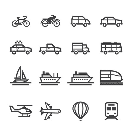 Transportation Icons and Vehicles Icons with White Background