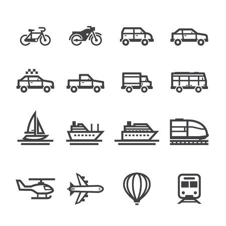 Vervoer Pictogrammen en Voertuigen Pictogrammen met een witte achtergrond Stock Illustratie