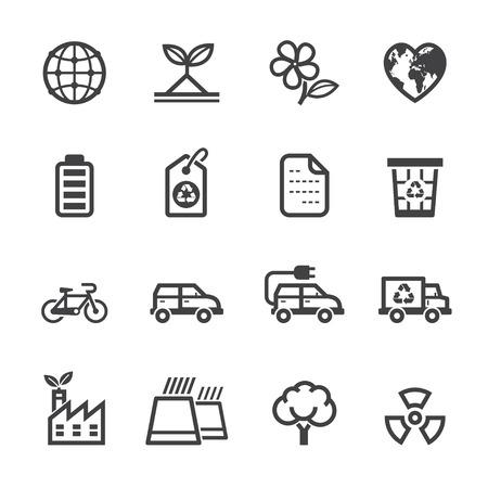 Ecologie pictogrammen en Milieu pictogrammen met witte achtergrond