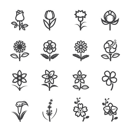 Flower Icons for Pattern with White Background Çizim