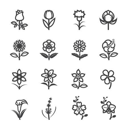 lily flower: Flower Pictogrammen voor Patroon met witte achtergrond Stock Illustratie