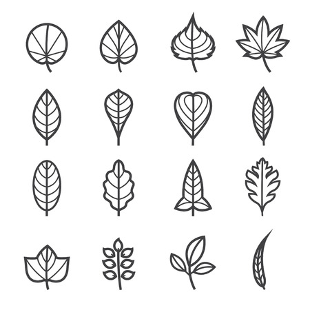 Leafs Icons for Pattern with White Background Vettoriali