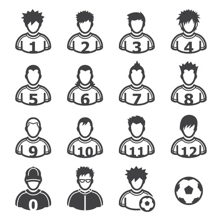 dodge: Soccer Player Icons with White Background