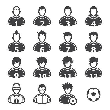 fútbol jugador: Iconos del jugador de fútbol con el fondo blanco