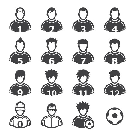 soccer player: Soccer Player Icons with White Background