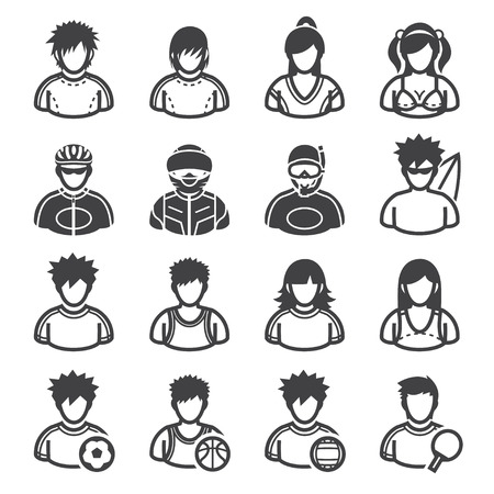 Sport and Activity People Icons with White Background Illustration