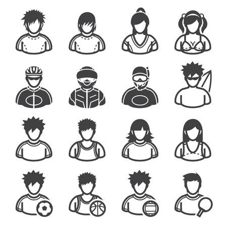 Sport en Activiteiten De Pictogrammen van mensen met een witte achtergrond Stock Illustratie