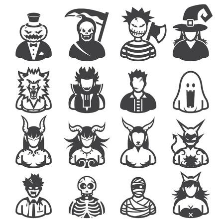 Costumes d'Halloween icônes avec un fond blanc Banque d'images - 22521876