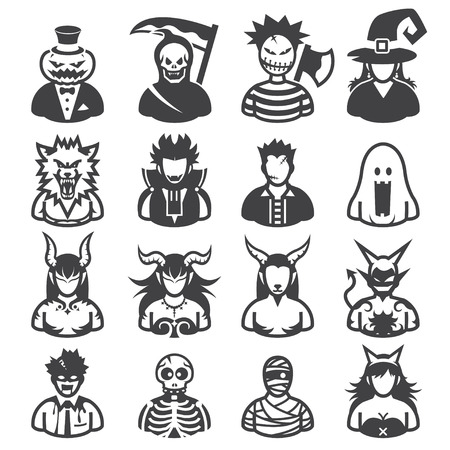 cartoon vampire: Halloween costumes Icons with White Background