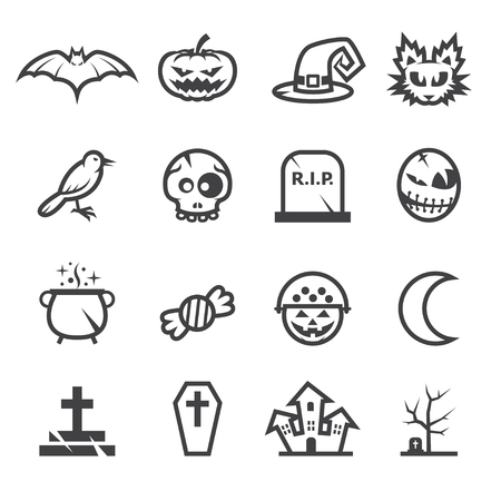 Halloween Icons with White Background Vector