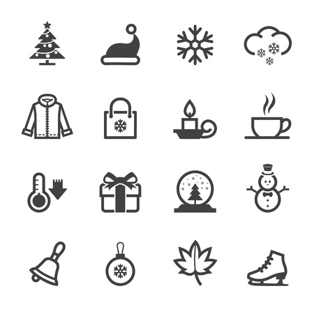 Winter Icons with White Background Vector