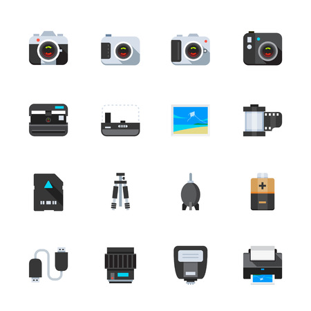 Camera and Camera Accessories Icons Illustration