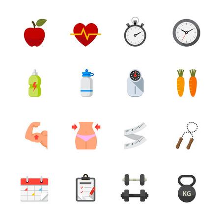 signos de pesos: Fitness y Salud iconos Vectores