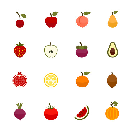 vegetables on white: Fruits and Vegetables Icons Illustration
