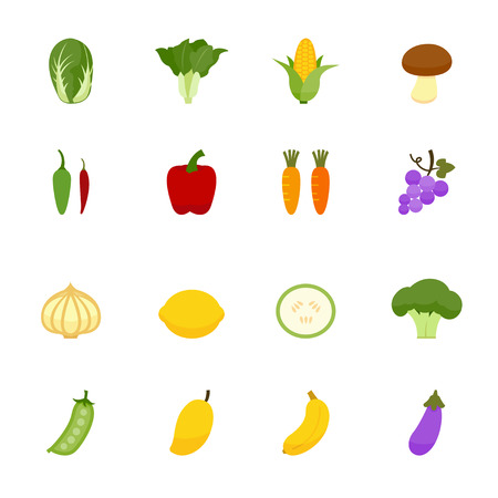 Vegetables and Fruits Icons Vetores