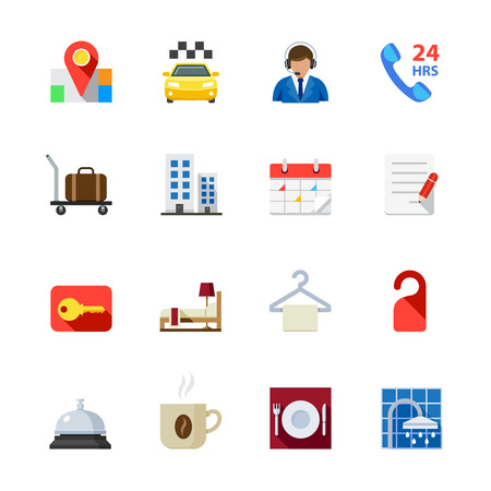 Hotel and Hotel Amenities Services Icons Stock Vector - 28641580