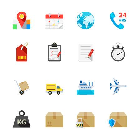 Scheepvaart en Logistiek Icons Stock Illustratie