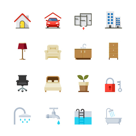 House and Real Estate Icons : Flat Icon Set for Web and Mobile Application Vector
