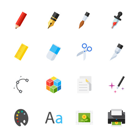 printing icon: Graphic Design Icons : Flat Icon Set for Web and Mobile Application Illustration