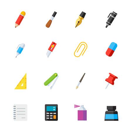 Briefpapier en Tekengereedschappen pictogrammen: Flat Icon Set voor Web en Mobile Application