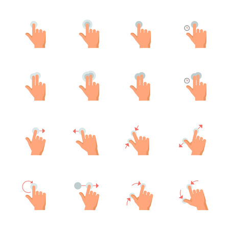 Touch Gestures Icons : Flat Icon Set for Web and Mobile Application Illustration