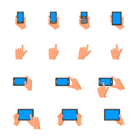 using tablet: Mobile Phone and Digital Tablet using with Hand Touching Screen Icons Illustration