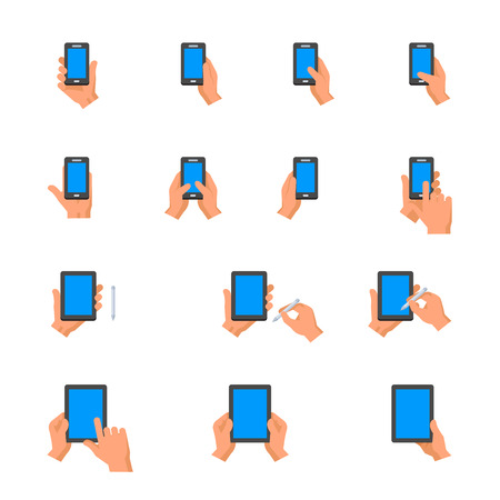 Mobile Phone and Digital Tablet using with Hand Touching Screen Icons Vettoriali