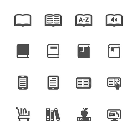e reader: Book Icons with White Background Illustration