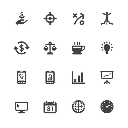 Business and Finance Icons with White Background