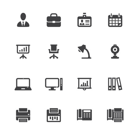 copier: Business and Office Icons with White Background