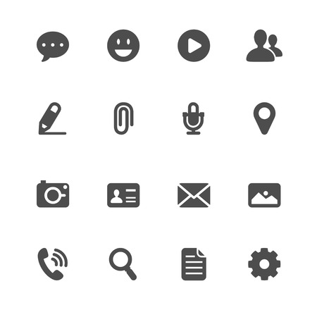 Chat Application Icons with White Background Ilustração