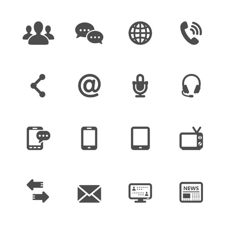 Communication Icons with White Background Ilustração