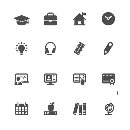 cams: Education Icons with White Background Illustration