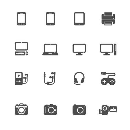 computer control: Electronic Devices Icons with White Background