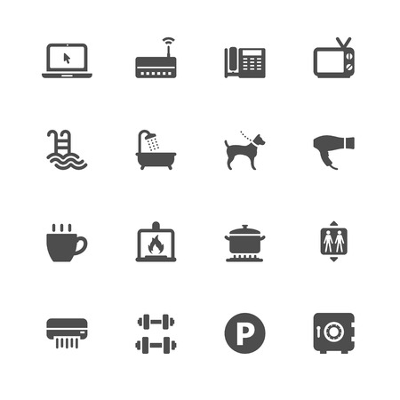 Hotel and Hotel Amenities Services Icons Vector