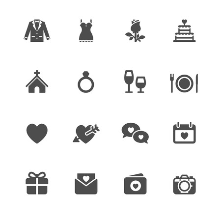 a holiday gift: Wedding Icons with White Background