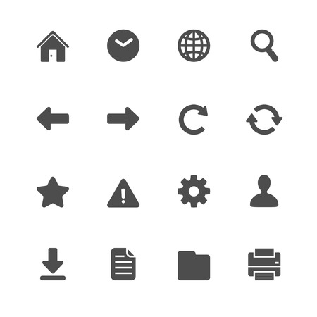 toolbar: Website and Toolbar Icons with White Background Illustration