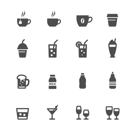 spirituous: Drink and Beverages Icons with White Background