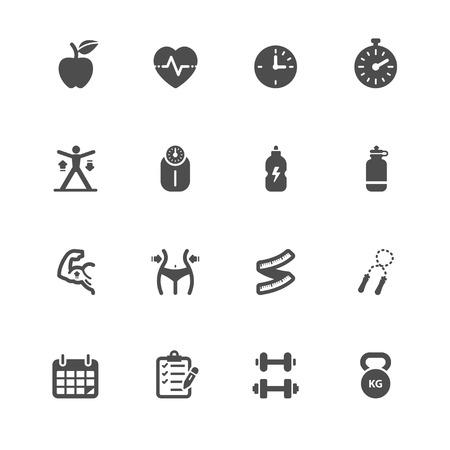 Fitness en gezondheid Pictogrammen met witte achtergrond
