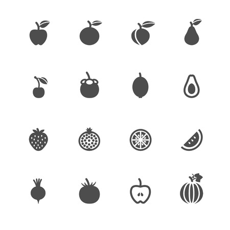 peaches: Fruits and Vegetables Icons with White Background