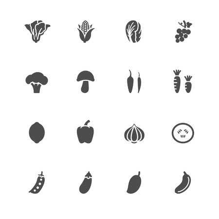 grapes and mushrooms: Vegetables and Fruits Icons with White Background