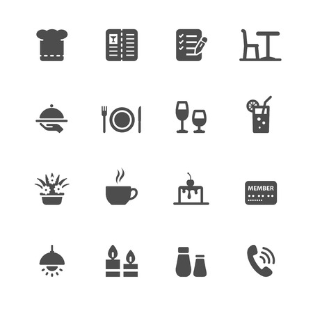 Restaurant icons with White Background Ilustração