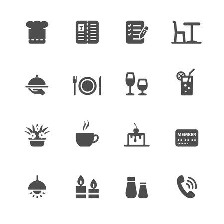 Restaurant pictogrammen met witte achtergrond